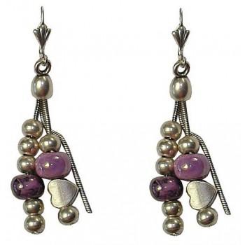 Boucles d'oreilles avec perle céramique violette et coeur en métal argenté