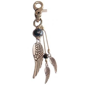 Bijoux de sac ailes d'ange en métal argenté