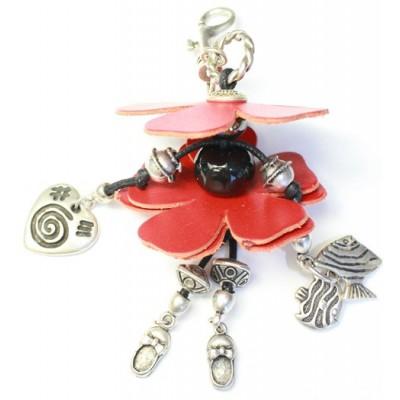 bijoux de sac cuir rouge - pampilles poissons coeur