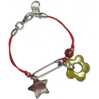 Bracelet en coton ciré rouge et céramique verte