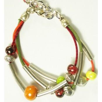 Bracelet 3 rangs, perle céramique 8mm, tube métal argenté