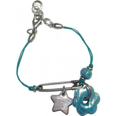 Bracelet en coton ciré bleu et fleur céramique bleue