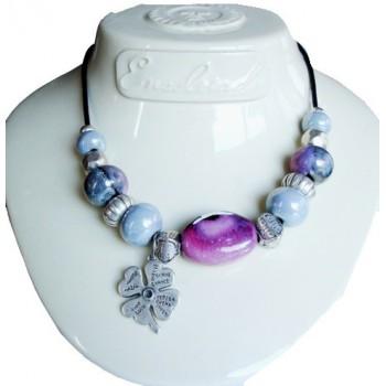Collier perle céramique violette pampille trèfle