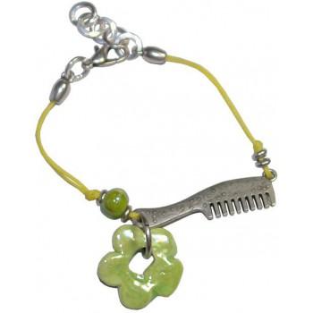 Bracelet en coton ciré jaune et céramique verte