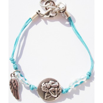Bracelet enfant coton ciré bleu, pampille ange et aile d'ange, perles verre, métal argenté