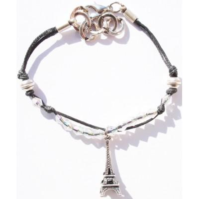 Bracelet enfant , coton ciré noir, perles verre, pampille tour eiffel