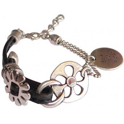Bracelet en cuir noir et chaine métal argenté
