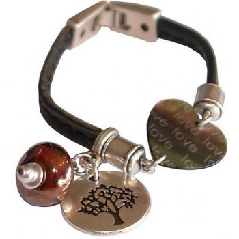 Bracelet en cuir noir et céramique rouge