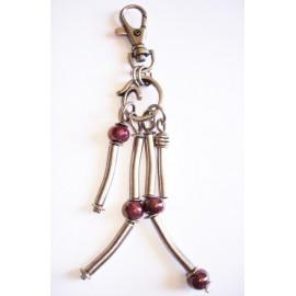 Bijoux de sac tube, perle céramique prune, métal argenté