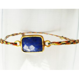 Bracelet perle LAPIS LAZULI serti OR, lien coton fil or