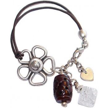 Bracelet élastique avec jade fumé et cristal de roche