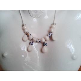 Collier perle céramique beige, perle ivoire