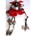 bijoux de sac cuir rouge - pampille chien