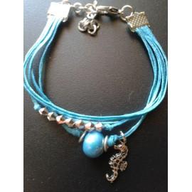 Bracelet perle céramique bleu, lien coton ciré bleu, pampille hippocampe, métal argent