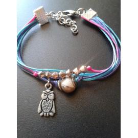 Bracelet perle céramique rose, lien rose bleu et violet, pampille hiboux , métal argent
