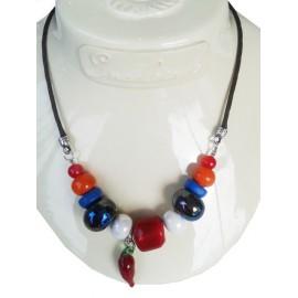 Collier perle céramique, turquoise , multicolore pampille poivron rouge en verre