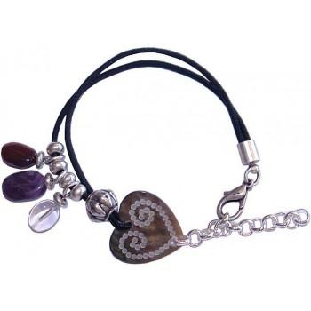 Bracelet coeur en nacre et pierres fines