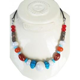 Collier perle céramique, multicouleur, perles turquoises,