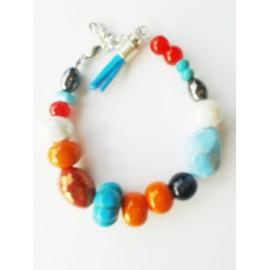 Bracelet perle céramique multicouleur, pampille pompon turquoise