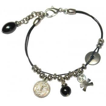Bracelet en coton ciré noir, perle hématite et tête de mort