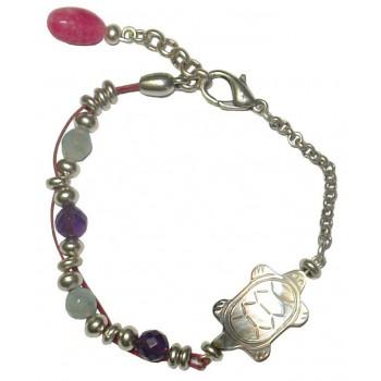 Bracelet tortue en nacre, pierres Amethyste et Aigue marine