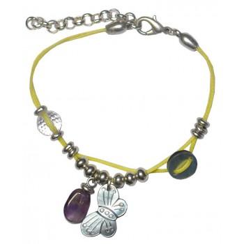 Bracelet en coton ciré jaune et papillon en nacre, pierre Amethyste et cristal de roche