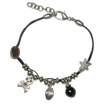 Bracelet en coton ciré noir avec perle Hématite et tête de mort en nacre