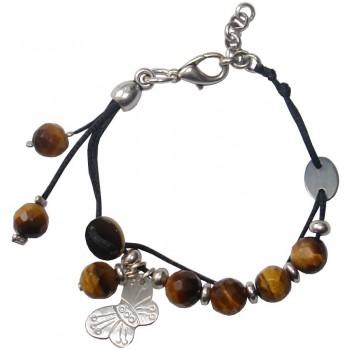 Bracelet en coton ciré noir avec perles Oeil de tigre et papillon en nacre