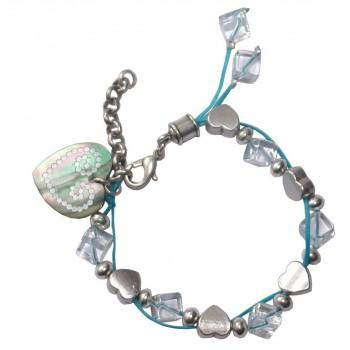Bracelet en coton ciré bleu avec perles en cristal de roche et coeur en nacre