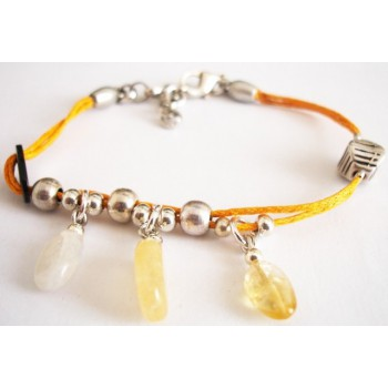 Bracelet coton ciré orange, pierres fines