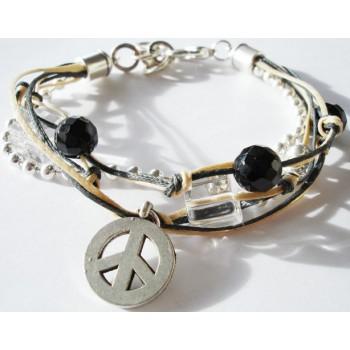 Bracelet perle onyx, cristal de roche, lien coton ciré noir et sable, chaine métal argenté, pampilles peace and love