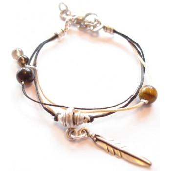 Bracelet coton ciré noir , et sable, perle quartz fumé, oeil de tigre, pampille plume, métal argenté