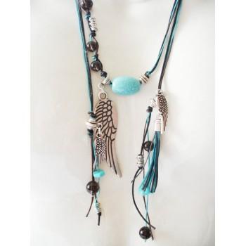 Collier perle turquoise, quartz fumé, lien turquoise, chocolat, noir , pampilles ailes d'ange