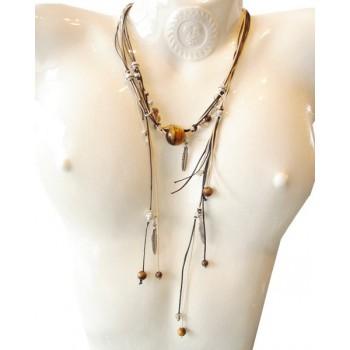 Collier perle onyx et quartz fumé, lien coton ciré noir et sable,  chaine métal argenté