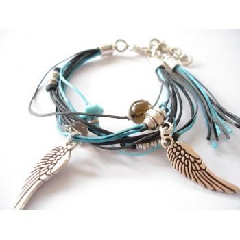 Bracelet perle turquoise, quartz fumé, lien coton ciré turquoise, chocolat, noir, pampilles ailes d'ange