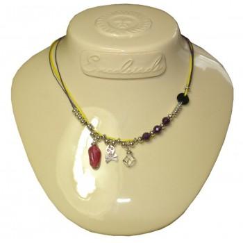 Collier en coton ciré jaune et violet, pierre améthyste et cristal de roche