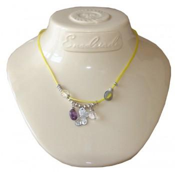 Collier en coton ciré jaune avec cristal de roche et amethyste
