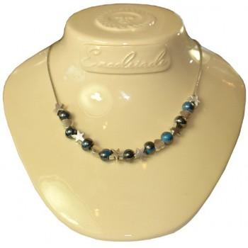 Collier chaine coeur et étoile en métal argenté perle céramique bleue