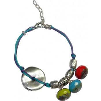 Bracelet en coton ciré et perles tchèque