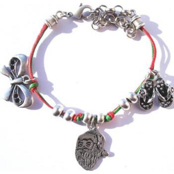 Bracelet coton ciré, rouge et vert, pampilles noeud, claquettes, pére noel
