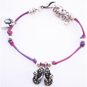 bracelet coton ciré,prune et violet, claquette et sac en métal argenté