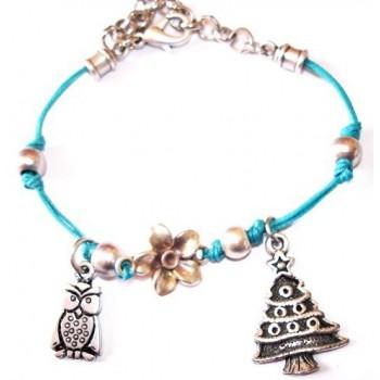 Bracelet coton ciré , bleu, pampilles sapin et hibou métal argenté