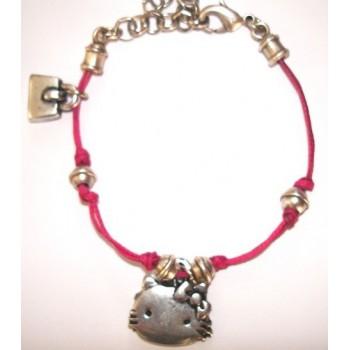 Bracelet enfant coton ciré fushia pampilles sac et hello kitty en métal argenté