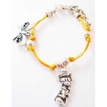 Bracelet coton ciré , orange, pampille noeud et mickey , métal argenté