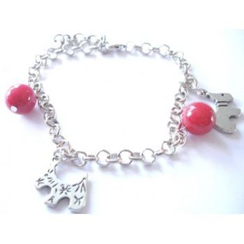 Bracelet perle gorgone , chaîne métal argenté, pampilles chien