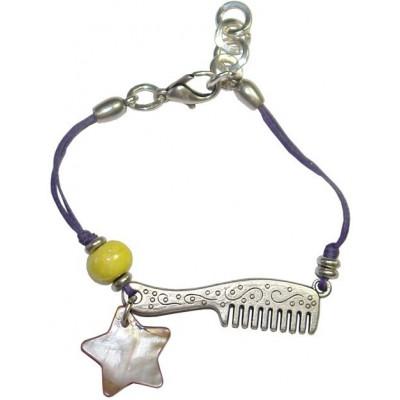 Bracelet en coton ciré violet et céramique jaune