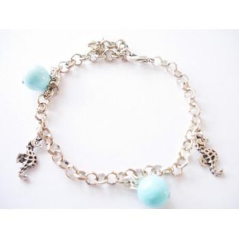 Bracelet perle turquoise, chaîne métal argenté