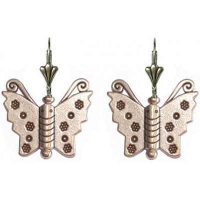 Boucles d'oreilles papillon en métal argenté