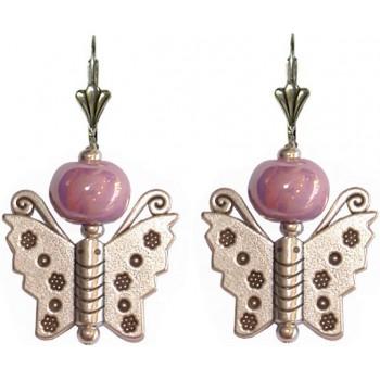 Boucles d'oreilles papillon en métal argenté et ceramique violette