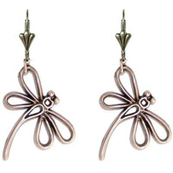 Boucles d'oreilles libellule en métal argenté